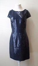 Ali Ro Black Striped Sequins Cap Sleeve Cocktail Dress Size 10