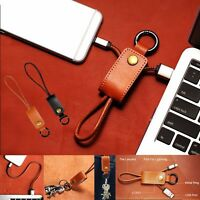 Leather key Ring Charger Sync Micro USB Data Cable For iPhone 6S PLUS 5S 7 7P K