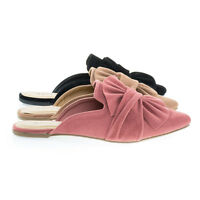 Series04M Women Flat Slip On Slipper Backless Loafer w Pointed Toe & Ruffle Bow