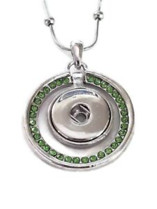 Noosa Style Green Rhinestone Snap Button Pendant Necklace Fit 18/20mm Chunks