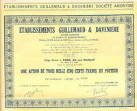 Guillemaud & Daveniere Company  > 1955 Paris France bond certificate