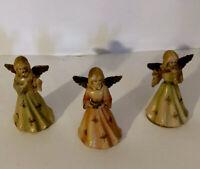 "3 Vintage Hard Plastic Chior Angels Hong Kong Christmas 3.5"" Tall"
