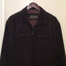 35d0b32d Zara Mens Jacket Brown Leather Suede Coat Size L Lined Leather Front Zip