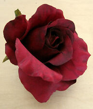 "3"" Deep Red Rose Poly Silk Flower Hair Clip,Romantic,Wedding,Christmas Party"