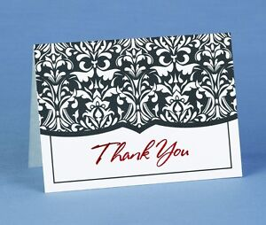 Black White Damask with Red Foil Wedding Thank You Notes 50/pk