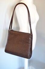MARKS & SPENCER M&S Brown patent croc print shoulder bag handbag faux leather