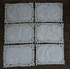 Vintage White Cotton Embroidered Platemats X 6