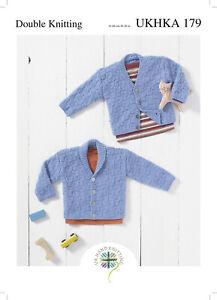 UKHKA 179 Baby V Neck or Shawl Collar Textured Cardigan Knitting Pattern In DK