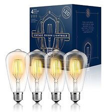 4 LED Squirrel Cage Vintage Edison 4w ST64 Warm 2300K In/ Outdoor Light Bulbs