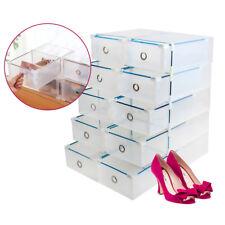10 X Almacenamiento Apilable Cajón Plástico Caja De Zapatos CalzadosTransparente