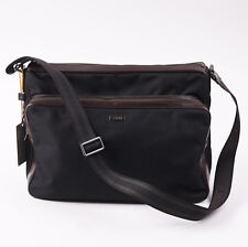 NWT $825 CANALI 1934 Woven Nylon and Leather Shoulder Messenger Bag Briefcase