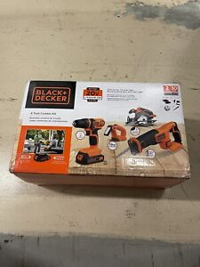 Black & Decker 20V MAX Cordless Li-Ion 4-Tool Combo Kit w/ 2 Batteries Brand New
