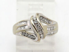 Baguette Right Hand Ring .62ct 10k White Gold Round and