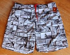 Mens Swim Suit  Bathing Trunks Shorts Joe Boxer Black & White Surfboard Palm 2XL