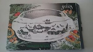 Crystal Clear Studios 15 inch Oblong Glass Serving Tray, Winter Scene, Frosted