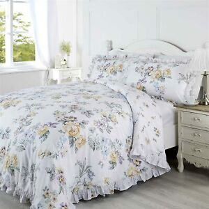 Ashleigh Floral Lace Frilled Double Duvet Quilt Bedding Set Cheapest on Ebay
