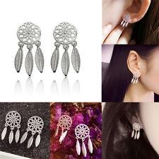 1pair Bohemia Women Dream Catcher Feather Ear Stud Drop Earrings Jewelry