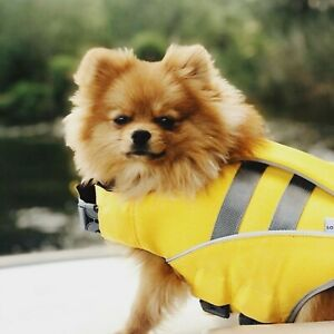 Dog Life Jacket Yellow Premium EVA Lining High Floatation Reflective Trim