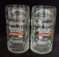 Set of 2 of Samuel Adams Octoberfest Dimpled Glass Mugs 0.5 L Mint Cond EUC