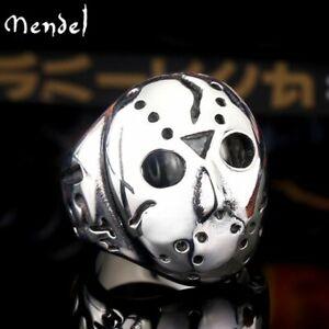 MENDEL Mens Number 13 Horror Movie Jason Mask Ring Men Stainless Steel Size 7-15