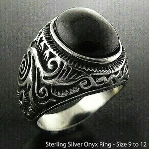 Men's Signet Ring Onyx Real Sterling Silver Solid Filled Engraved Scroll Style
