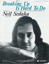 Breaking Up Is Hard To Do - Neil Sedaka - 1970 Sheet Music