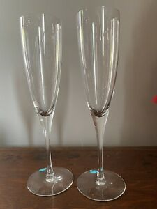 Vintage Tiffany & Co Champagne Flutes Crystal Glasses Lot Of 2 Authentic