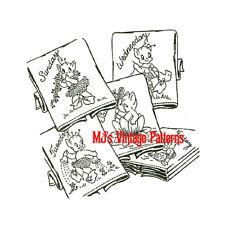 Vintage Pattern ~ Pixies Elves Brownies Days of the Week DOW Embroidery