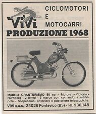 Pubblicità epoca 1968 MOTO VIVI GRANTURISMO old advert werbung publicitè reklame