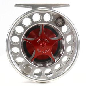 Bauer SST4 Reel Custom Setup Sliver Body Red Hub Red Knob - Free Fly Line