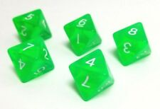 (5) D8 Green Translucent Color Polyhedral Dice Set, 8 Sided Lot D&D RPG DnD