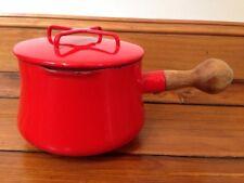 """Vintage Dansk Kobenstyle Flame Red Enamel Sauce Pot Pan w/ Lid Wood Handle 5.25"""""""