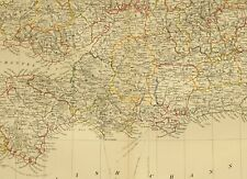 1873 HAND COLOURED MAP SOUTHERN ENGLAND & WALES DEVON CORNWALL SUSSEX SCILLY