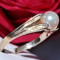 MK 14k yellow gold 6mm pearl ring size 6 vintage handmade 2.4gr N2450D