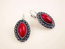 Beautiful Ruby Color Filigree Bohemian Style Earrings Birthday Anniversary Charm