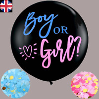 """36"""" Gender Reveal Balloon Baby Shower Gift Pink AND Blue Confetti FAST DESPATCH!"""