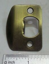 "Antique Brass plated door strike plate 2 1/4"" x 1 7/16"" rolled lip E2232"