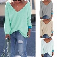 Women Ladies Off The Shoulder Knitted Oversized Baggy Sweater Jumper Top Blouse