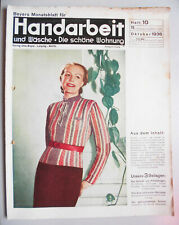 Beyers Monatsblatt für Handarbeit Wäsche Heft 10 Oktober 1936 Schnittmusterbogen