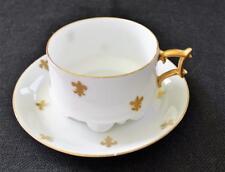 Antiguo Jean Pouyat Limoges Francia Porcelana Fina Oro Blanco Flor de Lis