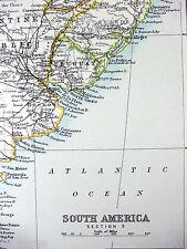 Original 1893 Map of Chile, Argentina & Uruguay b/w Brazil and Guyana