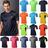 Mens Gym Outdoor Sports Running T-Shirt Quick Dry Fitness Workout Tops Shirt Tee