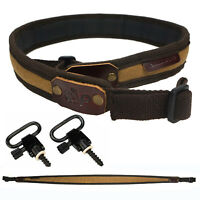Leather Canvas Rifle Sling with QD Swivels, Shotgun Hunting Gun Carry Straps
