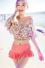 Coral Bikini Swimsuit Large with Floral Crop Top and Skirt Bottom 3pc Set