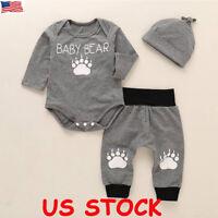 Cute Newborn Baby Boy Girl Clothes Jumpsuit Romper Bodysuit + Pants +Hat Outfit