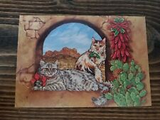 Vtg Leanin Tree 10 Fine Art Christmas Cards Sw Cats Cat Cactus 1993 Donna Race