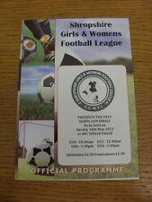 10/05/2015 Football Programme: Shropshire Girls And Womens League Cup Finals - U