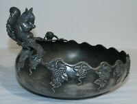 Antique EG Webster Quadruple Silverplate Nut Bowl, Squirrel & Grapevine