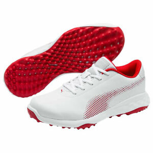 Puma Mens Grip Fusion Tech Spikeless Golf Shoe - White/Red