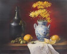 VINTAGE ORIGINAL FLOWERS IN BLUE WHITE VASE,LEMON,GRAPE OIL PAINTING STILL LIFE
